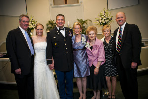 Pictured left to right are David Myers, Kelly Wigley and Major Sam Wigley, Justice Myers, her mother Wanda Rolf, sister Ginny Burns and brother-in-law Dr. Jay Burns.