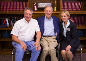 Kaufman County Republican Party fundraiser. Pictured Lana and husband David Myers with Governor Greg Abbott